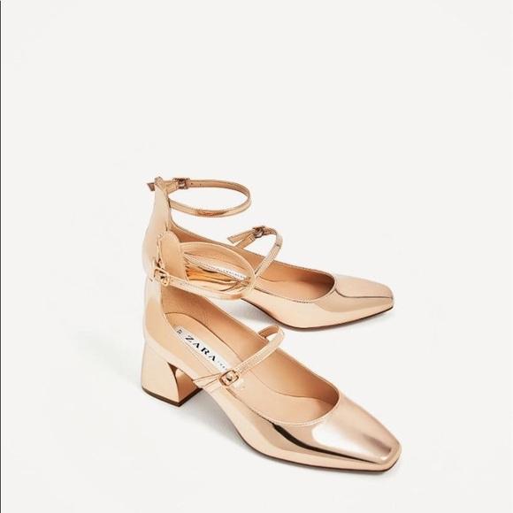 70d82ff76 Zara Shoes | Rose Gold Strappy Ballerina Mary Jane Heels | Poshmark